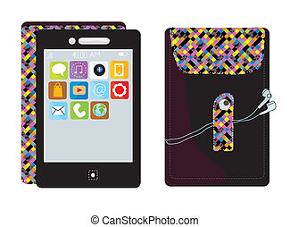 Mobile touchscreen phone with cover funny design