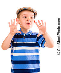 Boy and cloth cap - Child play with a cloth cap, white...