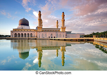 Kota Kinabalu city mosque - also known as floating mosque,...