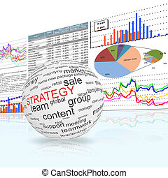 Concept of strategy in business - A globe sphere with...