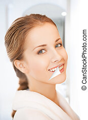 beautiful woman - picture of beautiful woman with white...