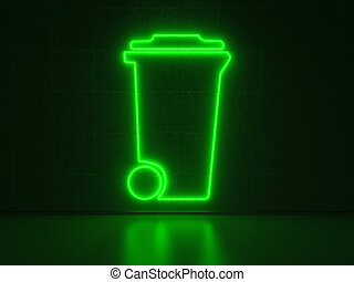 Dustbin - Series Neon Signs - A green Neon Sign in Form of a...