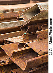 Steel rod - Rust steel rod or bars in warehouse
