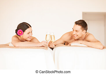 couple in spa - picture of couple in spa salon drinking...