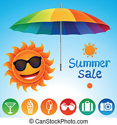 Vector set with summer design elements - summer sale icon...