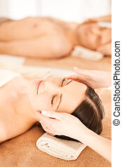 couple in spa - picture of couple in spa salon getting face...