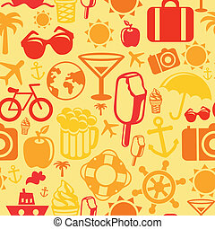 Vector seamless pattern with summer icons - vacation signs...