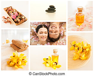 spa collage - collage with romantic couple in spa and...