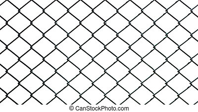Iron wire fence on white background