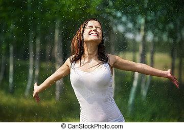 楽しむ, 幸せ, 女, 若い, 自然