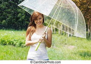 女, 傘, 雨