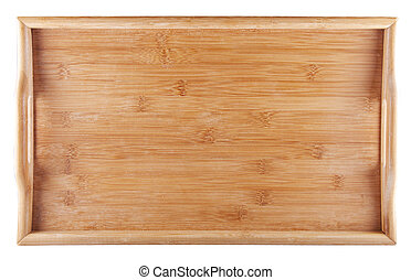 Tray - Entire view of a wooden tray isolated over white
