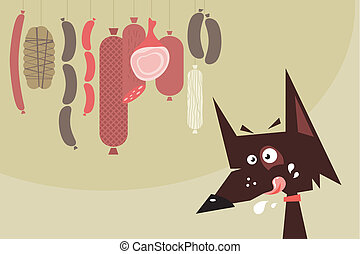 Drooling dog and sausages - Cartoon of a drooling dog and...
