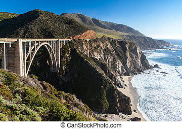 Bixby Bridge and Coastline at Big Sur - A view of Bixby...