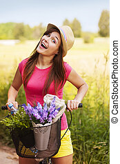 Very happy woman spending time on nature
