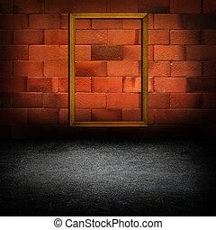 quadro, bordas, concreto, parede