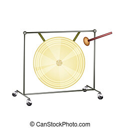 A Musical Gong Isolated on White Background