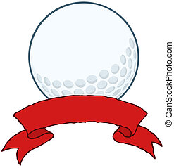 Golf Ball With Red Ribbon Banner Cartoon Character