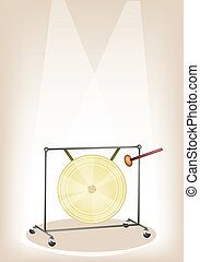 A Musical Gong on Brown Stage Background