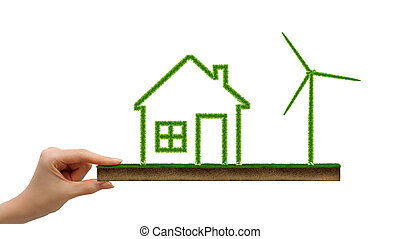 Grass covered house icon and wind turbine