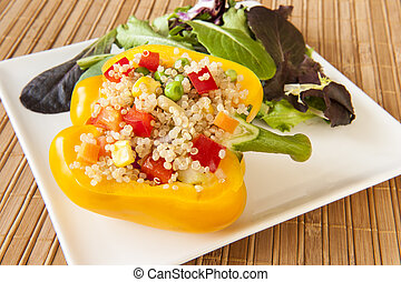 Quinoa Stuffed Yellow Pepper - Yellow pepper stuffed with...