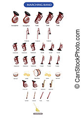 Set of Musical Instrument for Marching Band - Illustration...