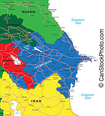 Azerbaijan map - Highly detailed vector map of Azerbaijan...