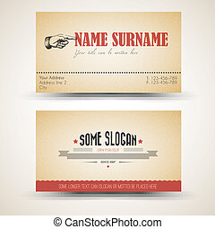 Vector old-style retro vintage business card template - both...