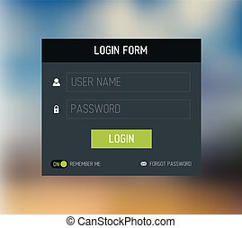 Vector login form template / design - Vector dark login form...