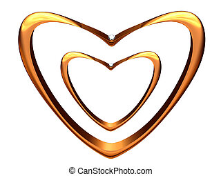 Two wedding rings bent in the form of hearts. - The image of...