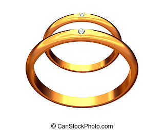 Two gold wedding rings, one behind another.