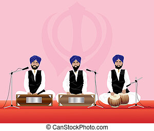 sikh musicians - an illustration of three traditionally...