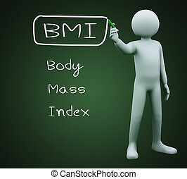 3d man writing bmi - 3d illustration of person with marker...