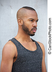 African american male fashion model with modern hairstyle