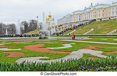 Peterhof palace - The Lower Gardens of Peterhof palace in...
