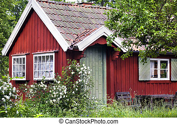 Red summer house in Sweden