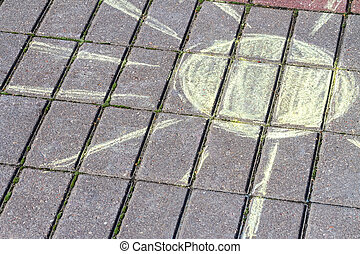 sol, pavimento, desenho