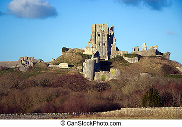 Corfe Castle - The ruins of Corfe Castle, Dorset, UK