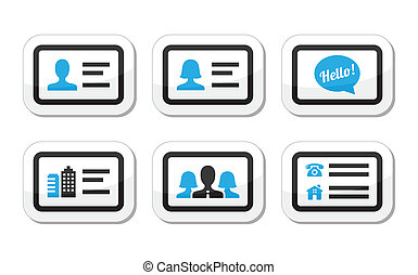 Business card vector icons set - Black and blue labels set -...