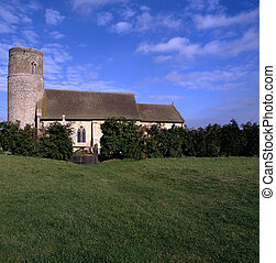 Round tower churches of East Anglia situated in the middle...