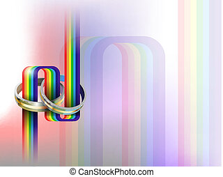 gay wedding - vector wedding rings on rainbow path, eps10...