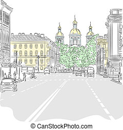 Vector Cityscape, the wide avenue with views of the church