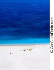 Myrtos beach Kefalonia, Greece. With two windsurfers
