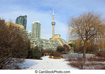 CN Tower and residential buildings in winter - View of CN...