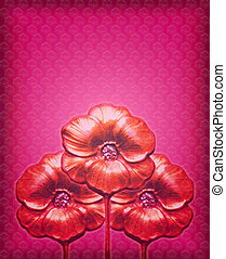 Three Flowers Motif Background 2 - Flowers motif design in...