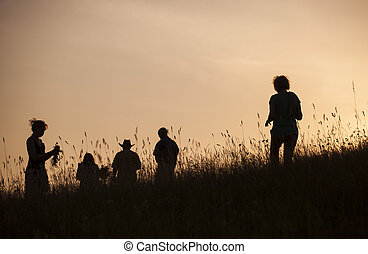 Silhouettes of People picking flowers during midsummer...