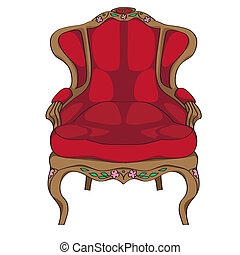 Sessel clipart  Stock Illustration of classic chair - Classic chair colored doodle ...