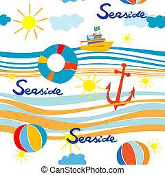 seaside pattern - Seaside pattern with boat, life buoy,...