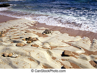 Stony beach on the northern coastline of Cyprus