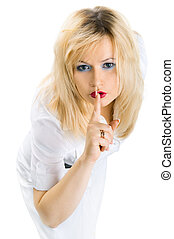 Secret. Woman shows hush, on white background